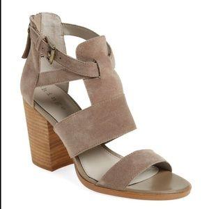 NWOT Suede Hinge Sandal Block Heels,